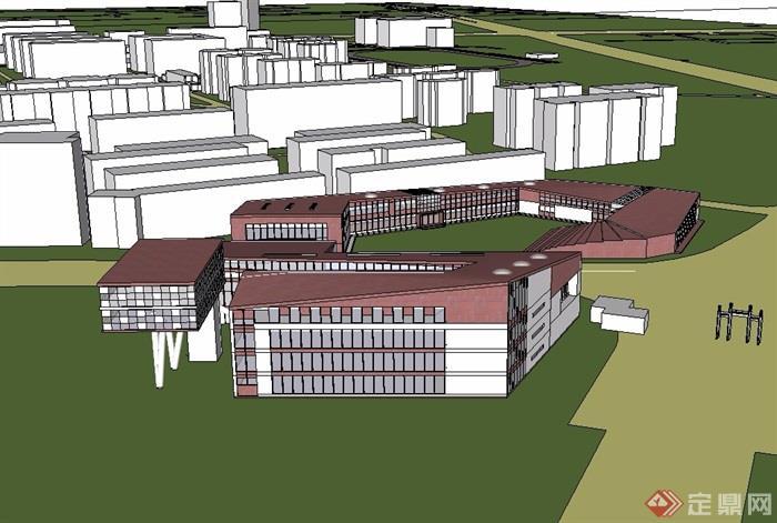 武汉大学模型概念建筑设计su整体[原创]etc海报设计图片