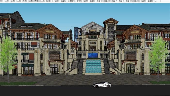 民国风商业街建筑设计su精细模型[原创]