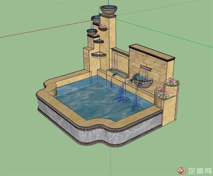 欧式风格水景墙详细设计su模型[原创]