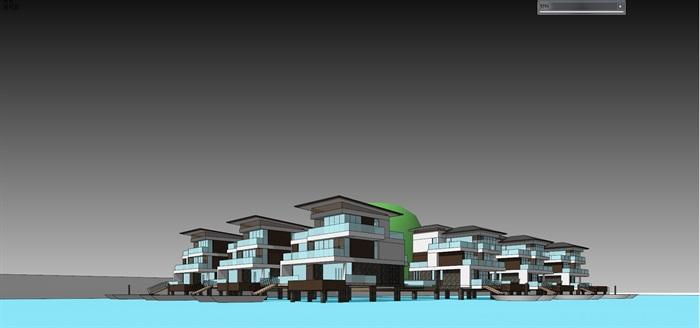 現代簡約水上度假別墅(帶效果圖 cad)(3)