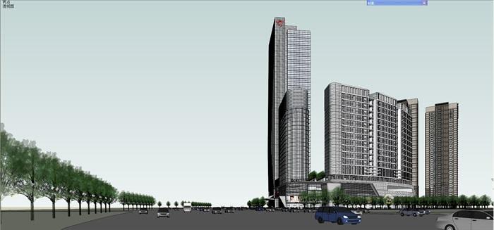 某现代风格详细商业办公楼su模型及效果图