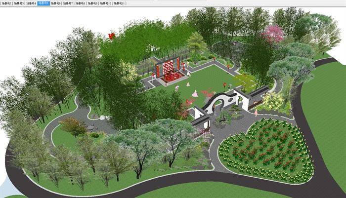 古典中式婚慶公園廣場景觀設計su模型[原創]