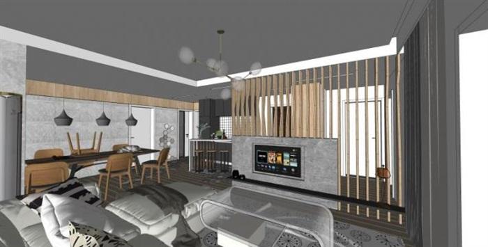 現代工業風客廳裝潢設計SU模型(2)