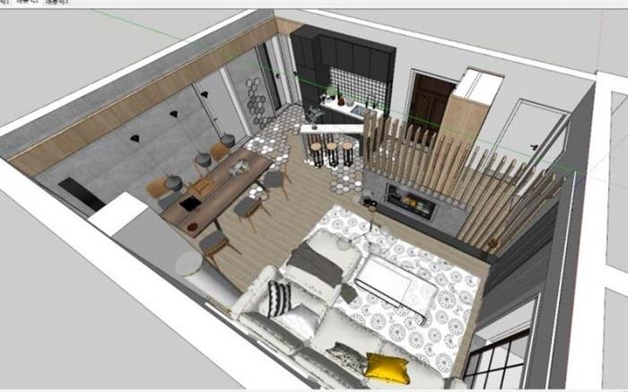 現代工業風客廳裝潢設計SU模型(1)