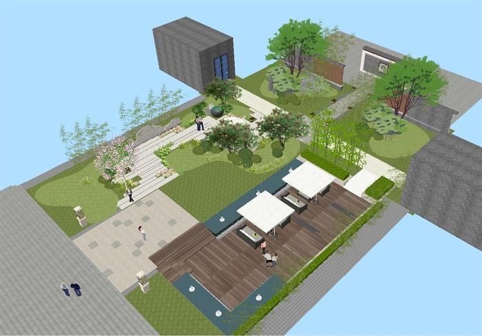 新中式酒店屋顶花园su模型[原创]图片