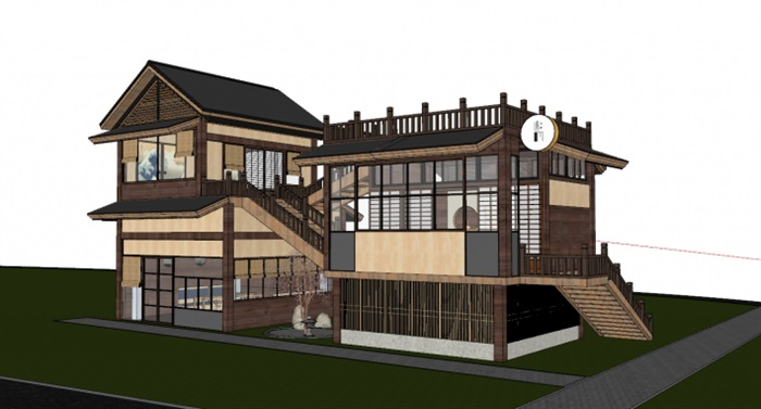 日式二层小木屋民居住宅楼su模型[原创]图片