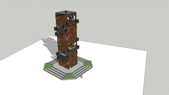 一个现代三层钢结构观景塔su模型[原创]