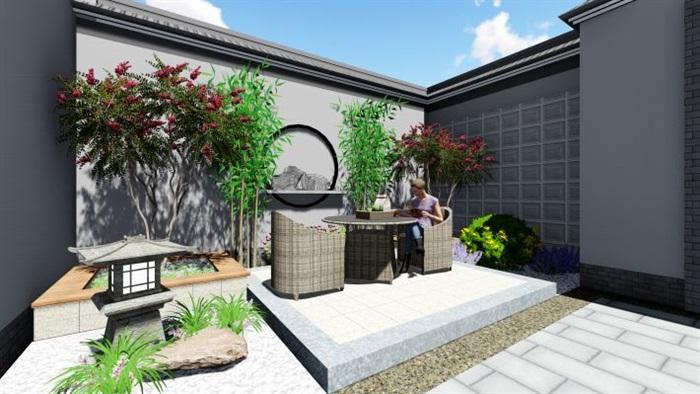 新中式别墅前后院子su模型[原创]