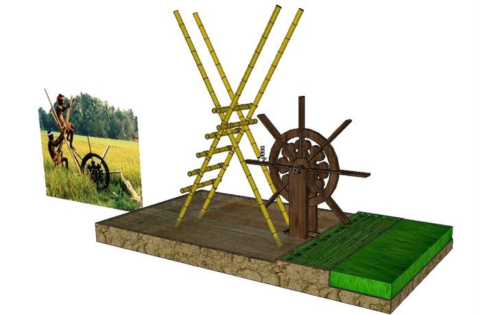 10个现代中式农具小品素材su模型[原创]