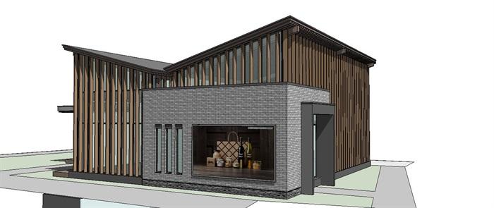 小型茶室设计_木格栅坡屋顶小型茶室建筑su模型[原创]