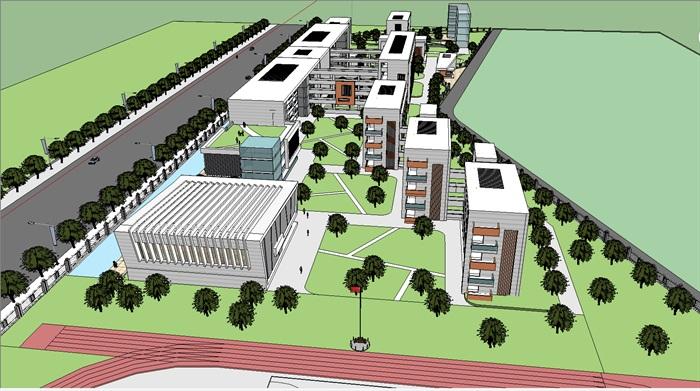 现代学校教学楼建筑规划设计su模型[原创]