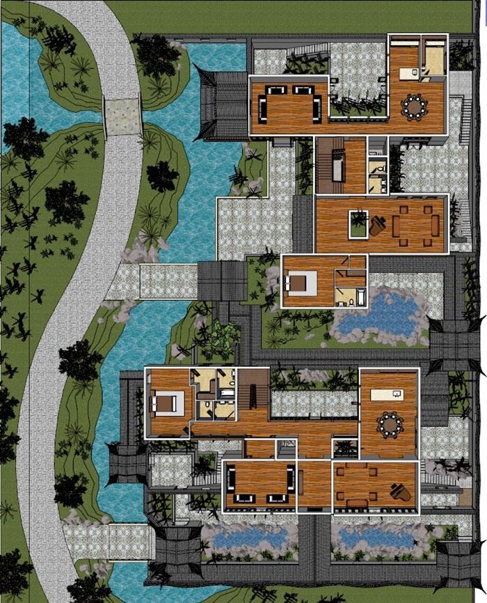 中式一组苏式园林别墅设计su模型[原创]图片