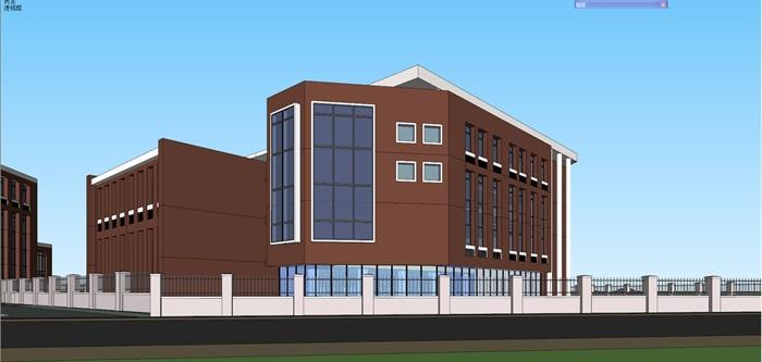 现代风格小学 幼儿园学校整体建筑设计su模型及效果图