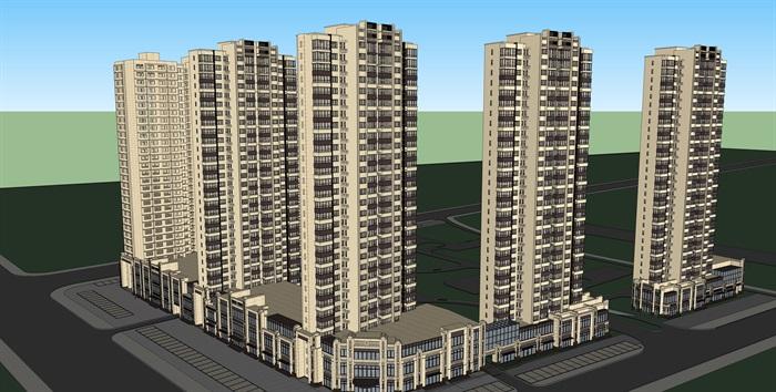 某沿街商业住宅立面改造建筑设计su模型[原创]
