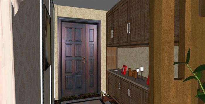 美式风格住宅室内设计su模型