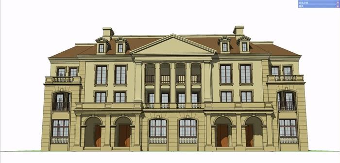 法式四联排多层详细案例su别墅[原创]模型阳光别墅装修图片
