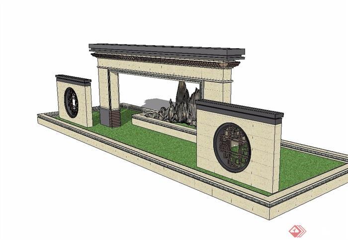 中式园林景观墙su模型[原创]