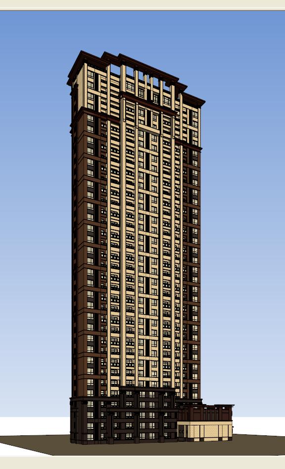 新古典高層小區住宅裙房建筑設計su模型[原創]