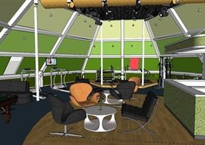 休闲健身运动中心设计SU(草图大师)模型(带CAD和效果图)