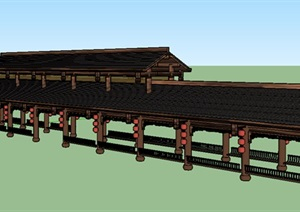 风雨长廊亭设计SU(草图大师)模型