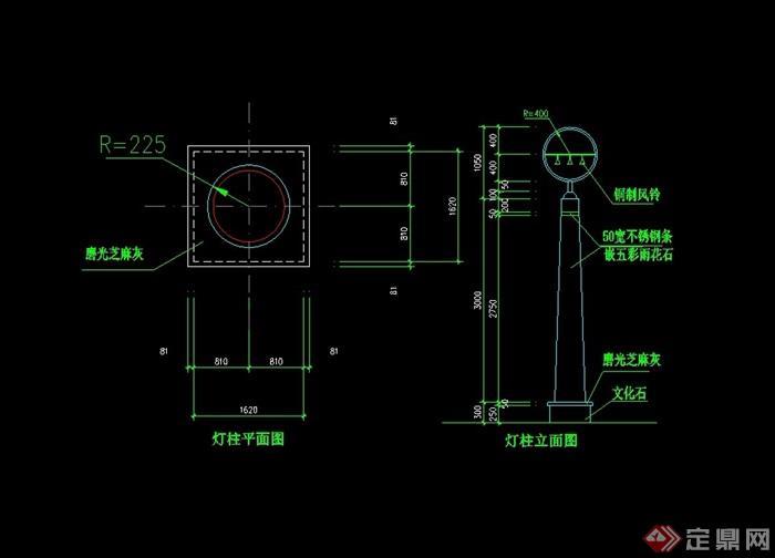 现代景观灯柱素材设计cad施工图[原创]