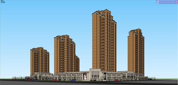 新古典住宅小区高层详细建筑楼设计su模型[原创]