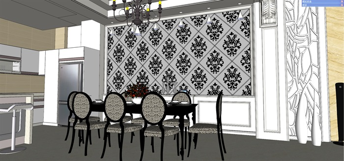 新古典樣板屋住宅室内设计su模型