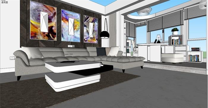 简约住宅详细室内设计su模型