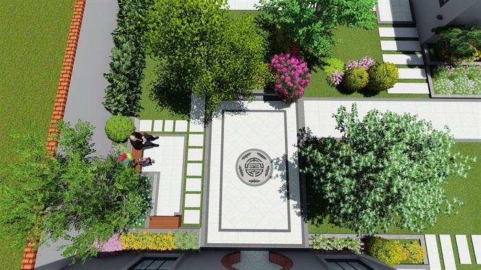 现代中式风格详细的庭院su模型[原创]