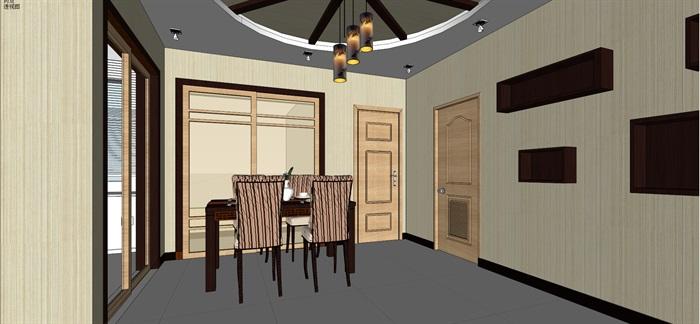 中式住宅客餐厅室内设计su模型及效果图
