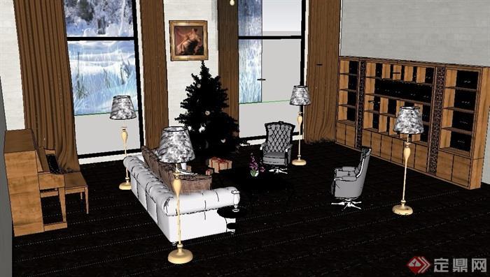 精细起居室详细的客厅设计su模型及效果图