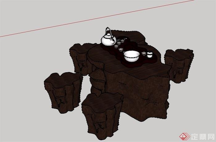 老树桩座椅中式树雕根雕石桌茶艺茶具根艺茶座SU模型