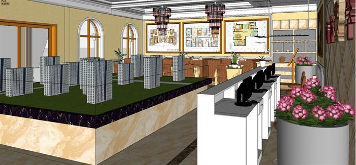 中昊福地售楼部室内空间详细设计su模型