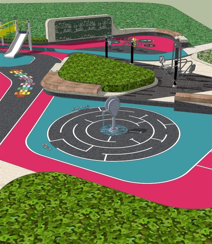 彩色儿童活动娱乐玩耍游乐园景观su模型[原创]