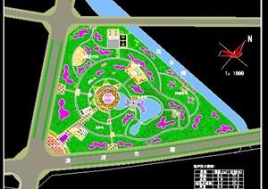 某三角形中心绿地总体规划图