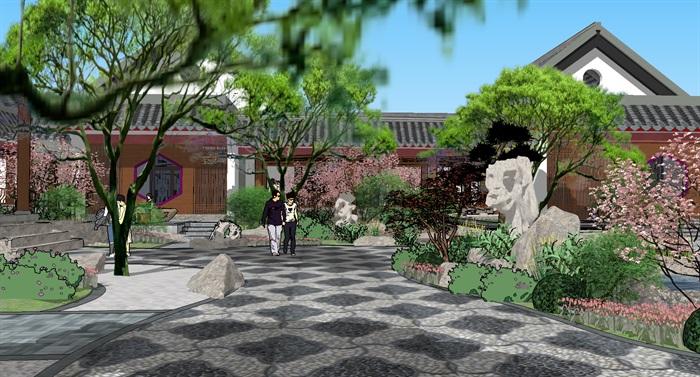中式园林庭院景观改造设计su模型[原创]
