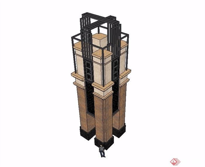 某现代风格详细完整的景观柱子设计su模型