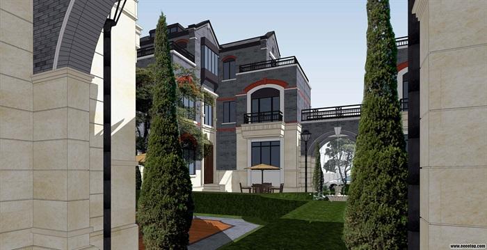 现代中式合院别墅详细建筑设计su模型图片