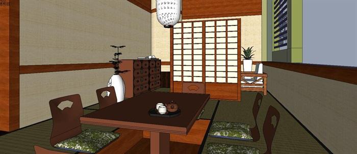日式和风料理店餐厅室内设计su模型