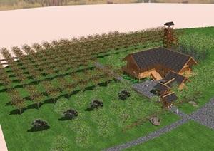 某中式风格果园及建筑设计SU(草图大师)模型