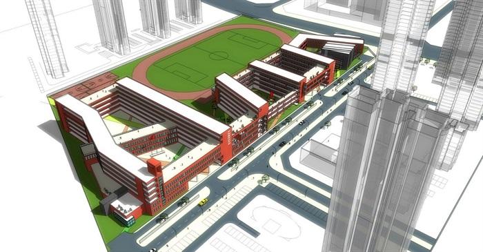 中铁国际城小学详细建筑楼设计su模型[原创]