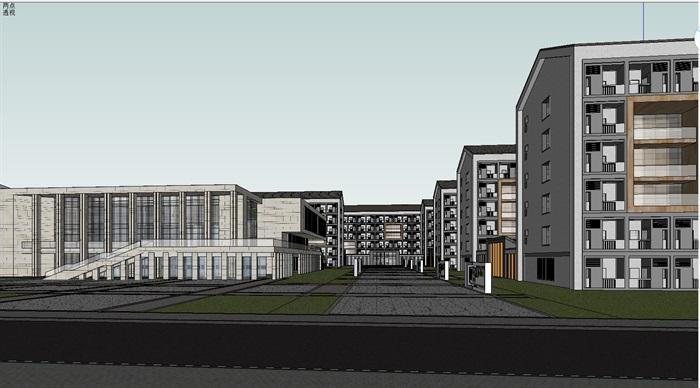 现代学校规划与单体建筑设计su模型[原创]