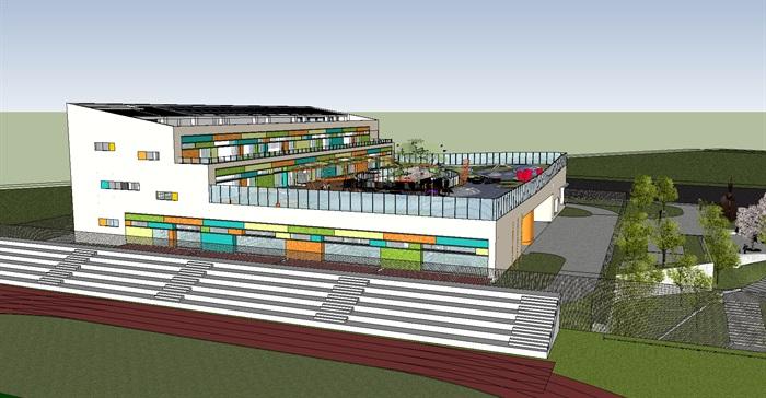 国外创意彩色窗户表皮退台式屋顶平台幼儿园建筑su模型[原创]