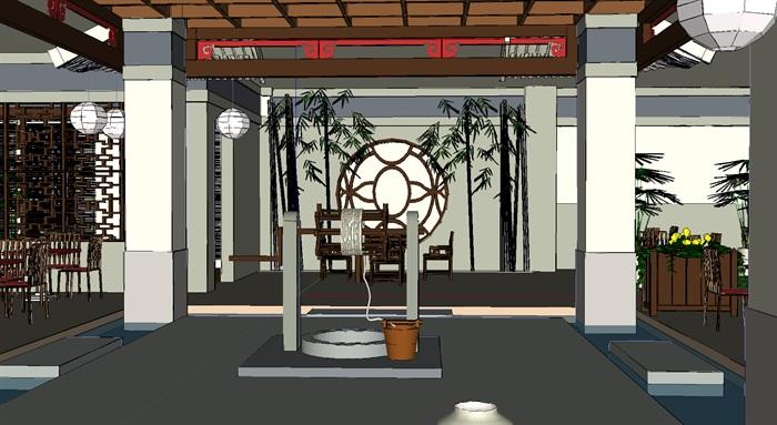 中式禅意风味茶艺餐厅室内su模型