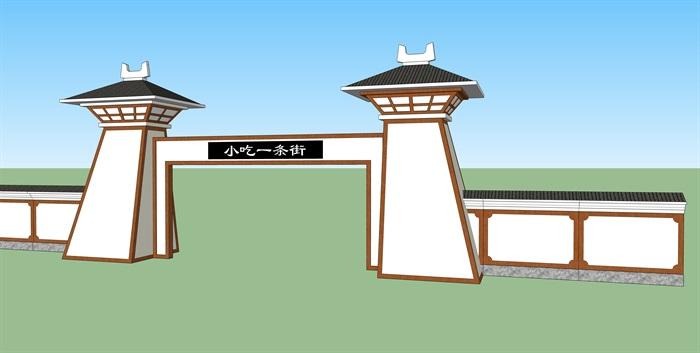 古典中式小吃街门口设计su模型[原创]