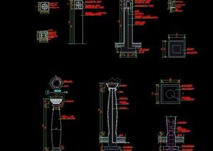 现代详细的景观灯柱cad施工图