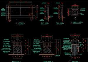 中式风格详细景观灯柱cad施工图