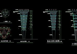 某现代风格景观柱设计cad施工图