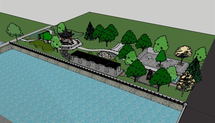 现代风格河岸河道景观设计su模型[原创]