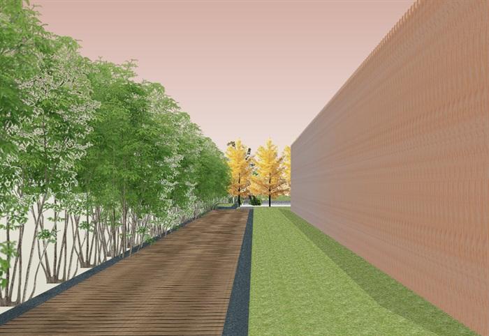 创意参数化层叠木格栅山水景墙(1)
